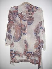 CHICO'S 1 M PAISLEY SHEER BLOUSE 3/4 ROLL UP SLEEVE NWOT
