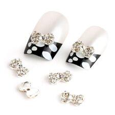 Silver Rhinestones Bow Tie 10 pieces Silver 3D Alloy Nail Art Slices Glitte I5R6
