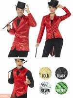 Sequin Waistcoat Tailcoat Jacket Mens Ladies Circus Greatest Showman Fancy Dress