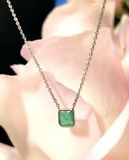 """Natural Emerald & Diamond 14K White Gold Floating Solitaire Necklace 18"""""""