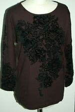 Mamut  Ladies Black  Velour Embellished Jersey Top Size 42 BNWT RRP £69 (DD7)