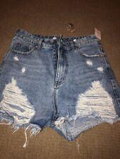 Denim Ripped Distressed Mini  Shorts Large Windsor Hi Waist Frayed