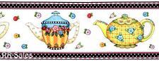 Mary Engelbreit Teapots Fried Egg Flower Tea Kitchen White Wall Wallpaper Border