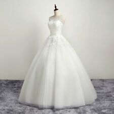 New White Ivory Appliques Ball Gown Wedding Dress Bridal Gowns Custom Made 2ece5bfbe040