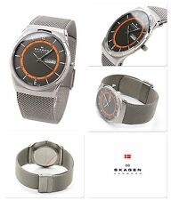 NEW Skagen SKW6007 Men's MELBYE Series Dark Gray Dial Silver Titanium Mesh Watch