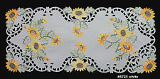 Creative Linens Sunflower Table Runner 15x34 Embroidered Cutwork Dresser