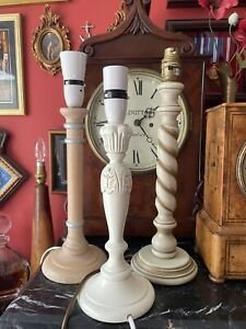 X 3 Wooden Candlestick Style Lamps One Being Dorma
