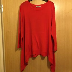 Ladies Jumper Size 18 Per Una Longer Length Asymetric Dipped Hem Red Fine Knit