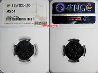 SWEDEN GUSTAF V Iron 1948 2 ORE NGC MS64 GEM BU COIN  KM# 811