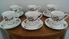 "Sango ""White Christmas"" Cups and Saucers"