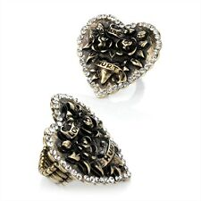 Love Hurts Heart Motif and Stone Burn Gold Tone Stretch Ring Costume Jewellery