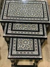 Antique handmade End Table Set, Wood Tables, Inlaid Mother of Pearl