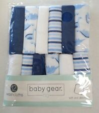 Baby Gear Baby Boys Cotton Blend Washcloths 12 Pack Dinosaurs/Stripes/Solid 9x9