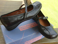 Naturalizer Dark Brown Leather Many Jane Flat Shoes Womens size 8.5