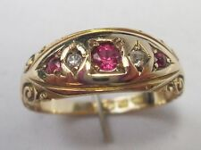 Edwardian 15ct Gold Ruby 3 Stone & Diamond Gypsy Ring Chester 1894