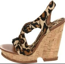 Leopard Print  Sandals Size 6 With Cork Wedge