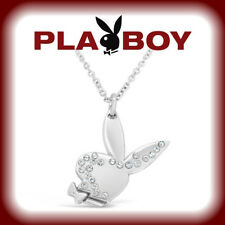 Playboy Necklace Swarovski Crystal Bunny Pendant w Chain Silver Platinum Plated