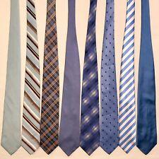 8 Men's Ties Light Blue Paul Fredrick Calvin Klein VanHeusen Vtg Silk Tie Lot
