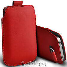 RED (PU) LEATHER PULL TAB POUCH CASE FOR DORO PHONE EASY 510 MOBILES