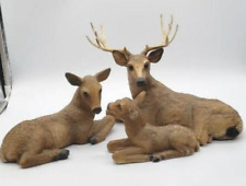 3 Pc. 1984 Homco Home Interiors Deer Family: Buck, Doe, & Fawn Statues/Figurines