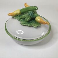 Vintage CERAMICHE ARTISTICHE Covered Bowl Zucchini BlossomS Beautiful Detail!