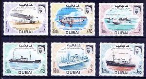 Dubai 1969 MNH 6v, Planes, Ships, Transport, Aviation