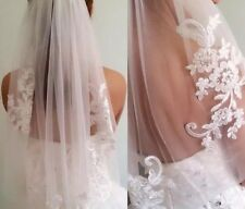 Short One Layer Waist Length Beaded Diamond White Wedding Bridal Veil with Comb