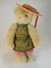 """Vermont Teddy Bear Jointed Plush Cream Color 12"""" Apron and Hat 1997"""