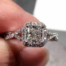 1CT White Sapphire Princess Gorgeous Shiny Birthstone 925 Silver Wedding Ring
