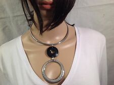 "Chico""s Gorgeous silver hammered black necklace"
