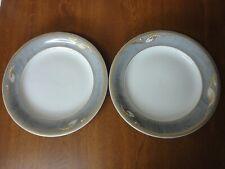 2 Royal Copenhagen Dinner Plates 625 - Grey White & Gold