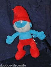 Peluche Doudou Grand Les SCHTROUMPFS Los Pitufos Bleu Peyo 2011 Rouge 24 Cm TTBE