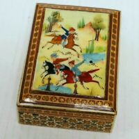 """Vintage Persian Inlaid Wooden Trinket Box Ornate Horses Polo Countryside 4"""" X 3"""""""