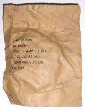 10 fusibles de rechange verre 3AG 1 A d: 6,3 mm l: 31 mm  US NOS NIB 1952