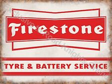 Vintage Garage Firestone Tyre & Battery Service Motor Car, Medium Metal Tin Sign