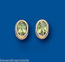 Peridoto Pendientes Ovalado Tachuelas Y Oro Amarillo De Presión