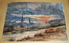 VICTORIAN WATERCOLOUR - Sunset Over an Industrial Town - Signed T.Groves 1878
