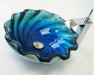 BLUE Turquoise ROUND RIPPLE EDGE GLASS BASIN SINK WASH BOWL LUXURY BATHROOM