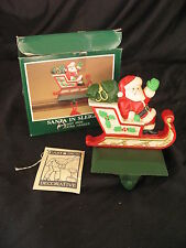Midwest Painted Cast Iron Santa in Sleigh Stocking Hanger Holder Christmas