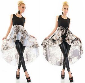 Damen High Low Shirt Long Top Chiffon Volant Verzierung Animal Print 36/38 ITALY