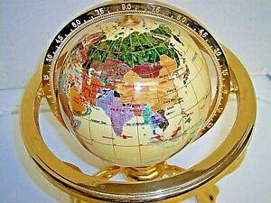 GEMSTONE WORLD GLOBE, COMPASS BRASS Mother of Pearl GLOBE