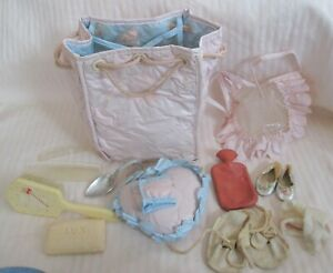 Vintage Child's Doll Quilted Vinyl Drawstring Diaper Bag With Accessories-Tag