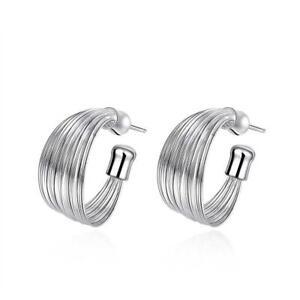 925 Sterling Silver Hoop Stud Earrings Butterfly Back UK Seller