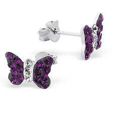 Childrens,Girls,Women 925 Silver Butterfly Ear Stud with Crystal-Gift Box
