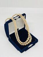 Vintage Faux Pearl Two Strand Necklace Silver Tone Diamante Clasp Elegant Dainty
