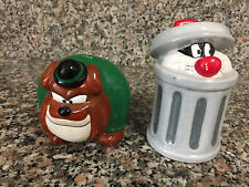1996 Hector Bulldog & Sylvester in a Trash can Salt & Pepper Shakers