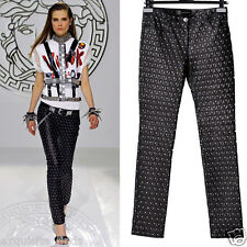 $7,195 New VERSACE Studded Black Lamb Leather Moto Pants 42 - 6