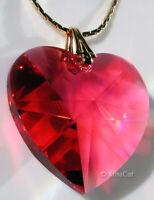 20mm Swarovski 8781 Bordeaux RED HEART Austrian Crystal Pendant Retired Vintage