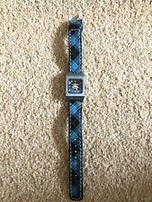 PAUL FRANK Black Blue Tartan Checked Square Monkey Face Wristwatch Wrist Watch