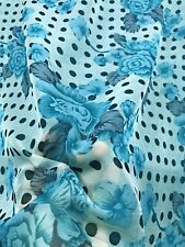 "Turquoise Blue Polka Dot Floral Chiffon Fabric 60""W BTY Drape Craft Tablecloth"